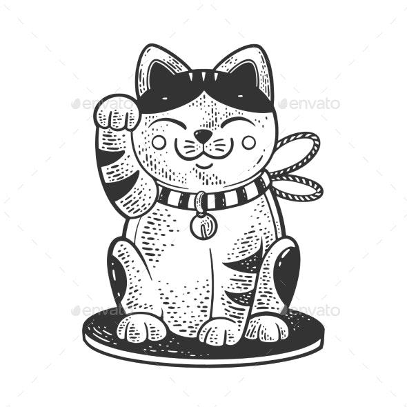 Maneki Neko Cat Sketch Vector Illustration - Miscellaneous Vectors