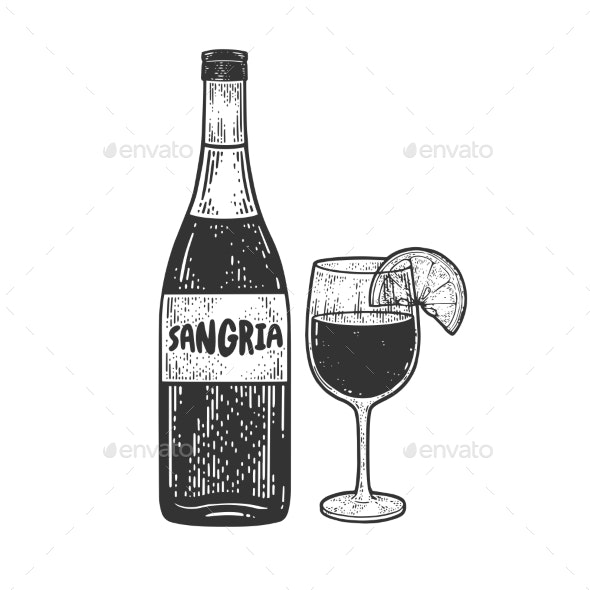 Sangria Alcoholic Drink Sketch Vector - Food Objects