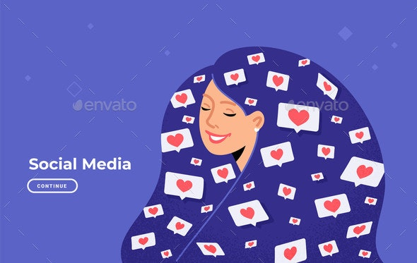 Social Media Likes and Hearts Flying in Human Head - Miscellaneous Vectors