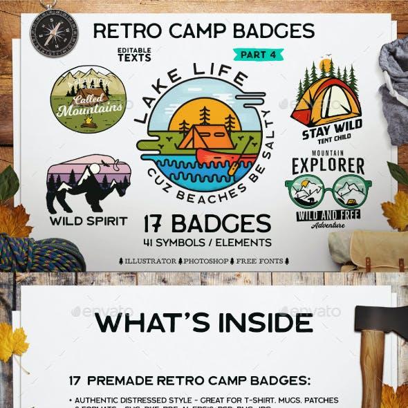 Retro Camp Stickers Badges. Part 4