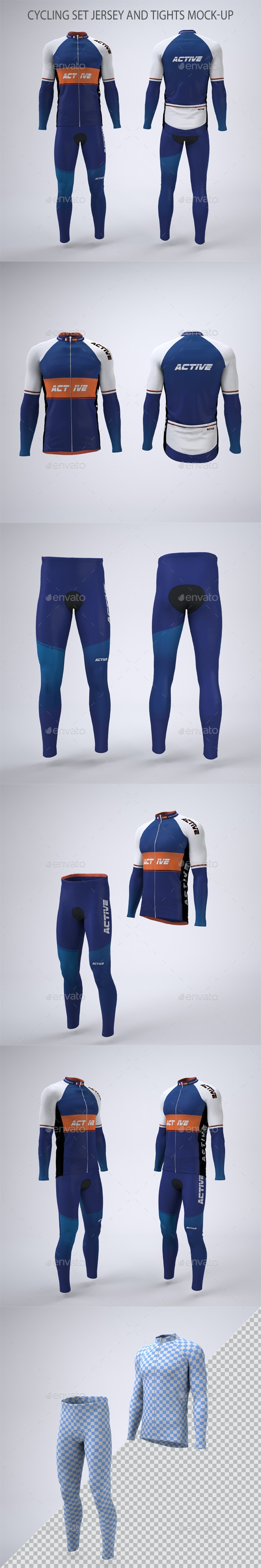 Cycling Jersey and Tights Mock-up - Apparel Product Mock-Ups