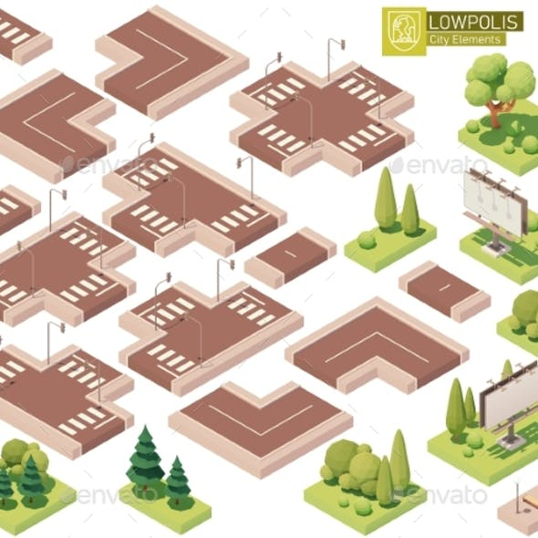 Vector Isometric Street Roads and Other Elements