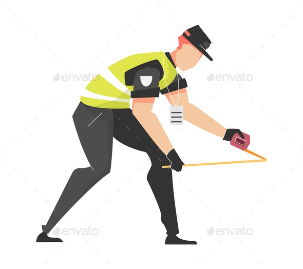 Officer Measuring Distance Composition - Miscellaneous Vectors