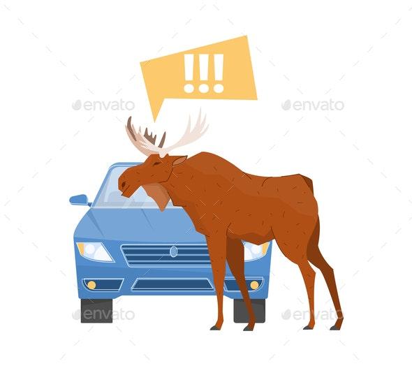 Elk On Road Composition - Miscellaneous Vectors