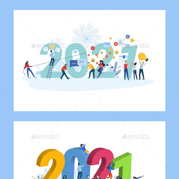 Christmas and New Year 2021 Greeting Cards and Banners