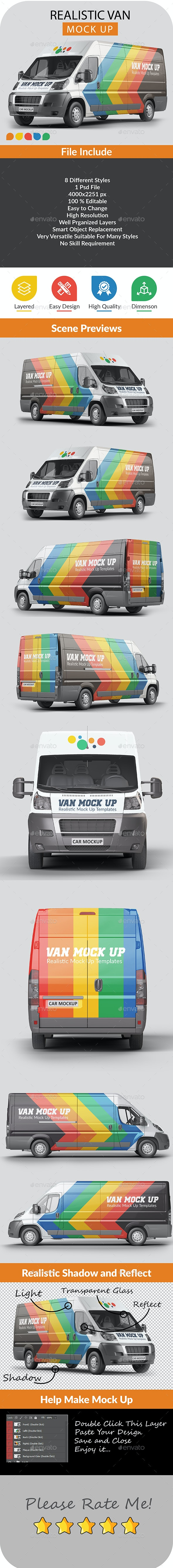 Photorealistic Van Mock Up - 002 - Vehicle Wraps Print