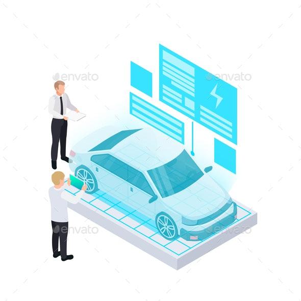 Electric Car Projection Composition - Miscellaneous Vectors