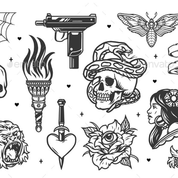 Vintage tattoo designs collection