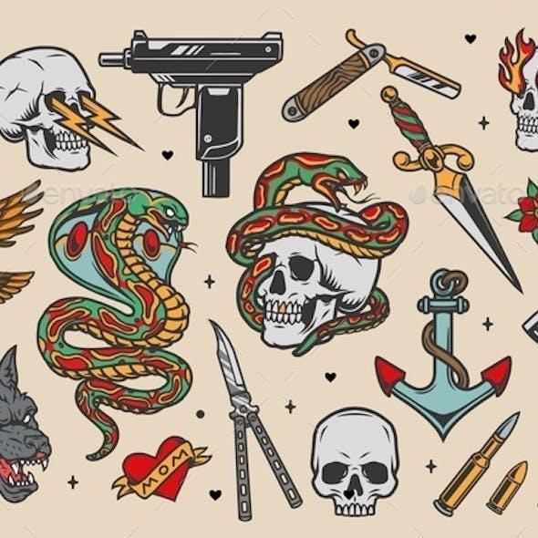 Tattoos vintage colorful set