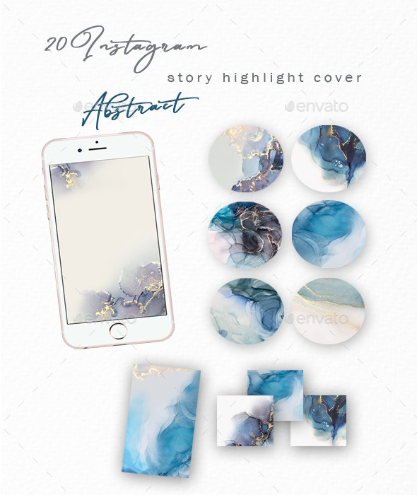 Instagram Story Highlight Covers Blue Abstract - Social Media Web Elements