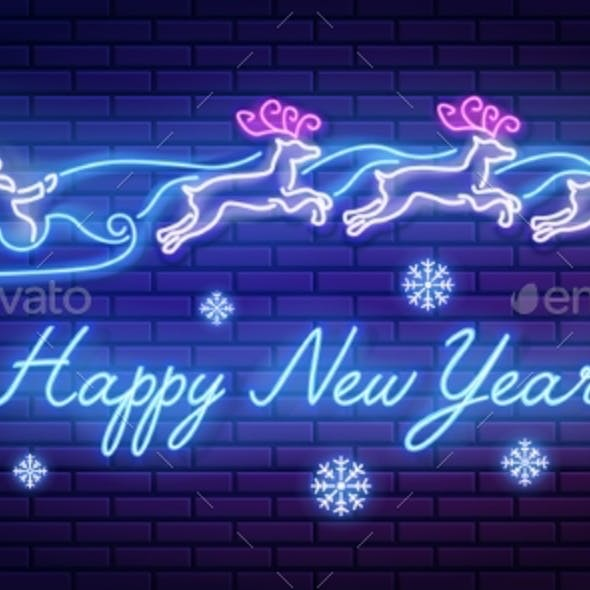 Neon Sign Lettering Happy New Year with Santa