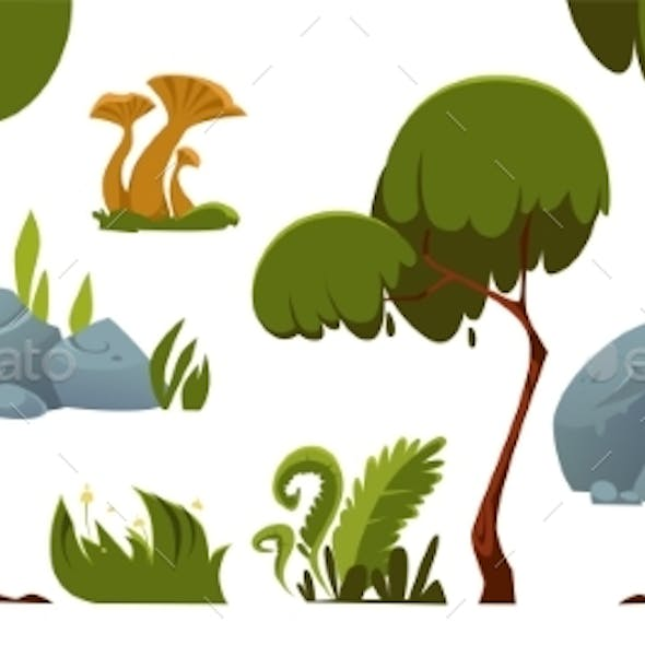 Forest Landscape Elements, Trees, Grass, Stones