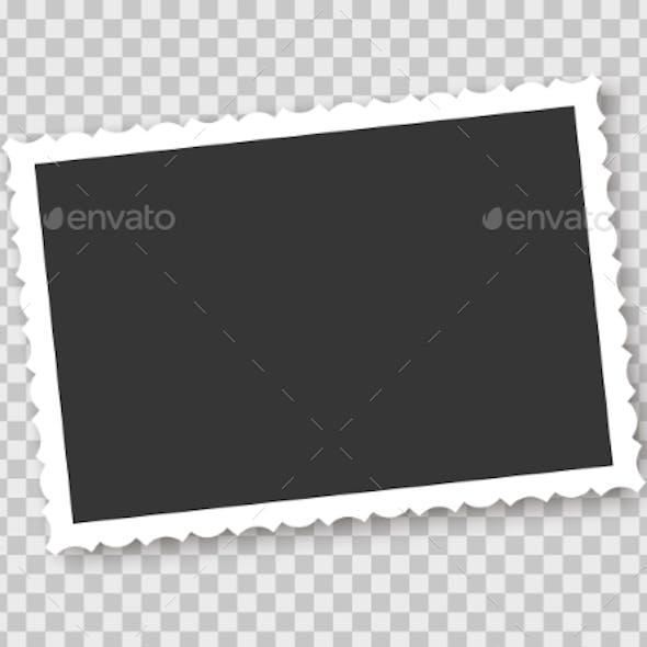 Vintage Photo Frame on Transparent Background