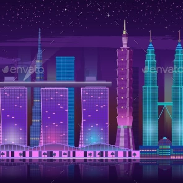 Neon Skyscrapers. Retro 80s Night Cityscape