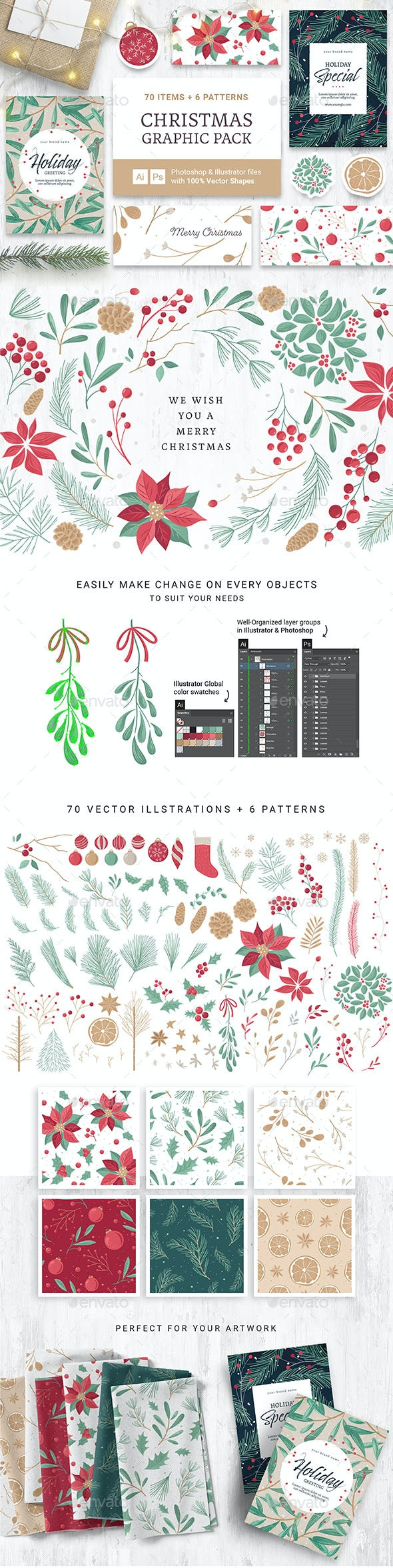 Festive Christmas Vector Graphics - Decorative Symbols Decorative