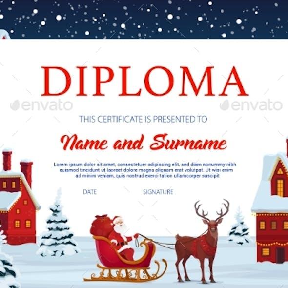 Diploma Certificate Template with Xmas Town, Santa
