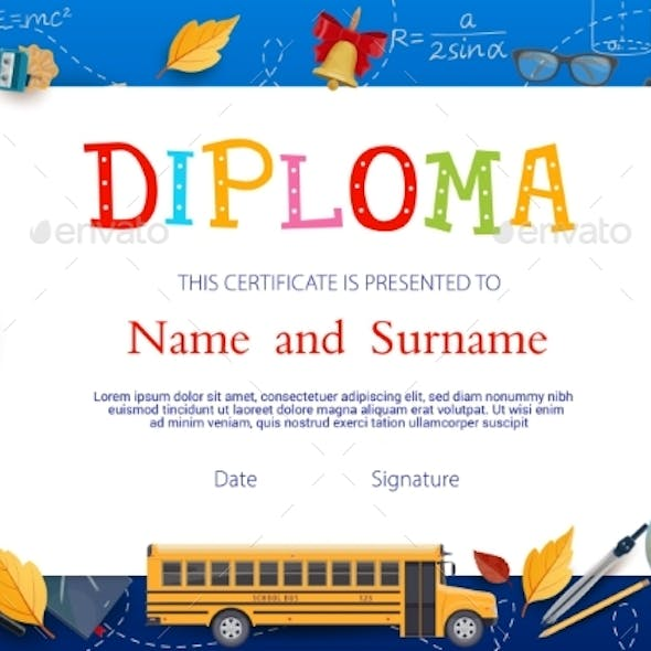 Diploma Certificate Template with School Supplies