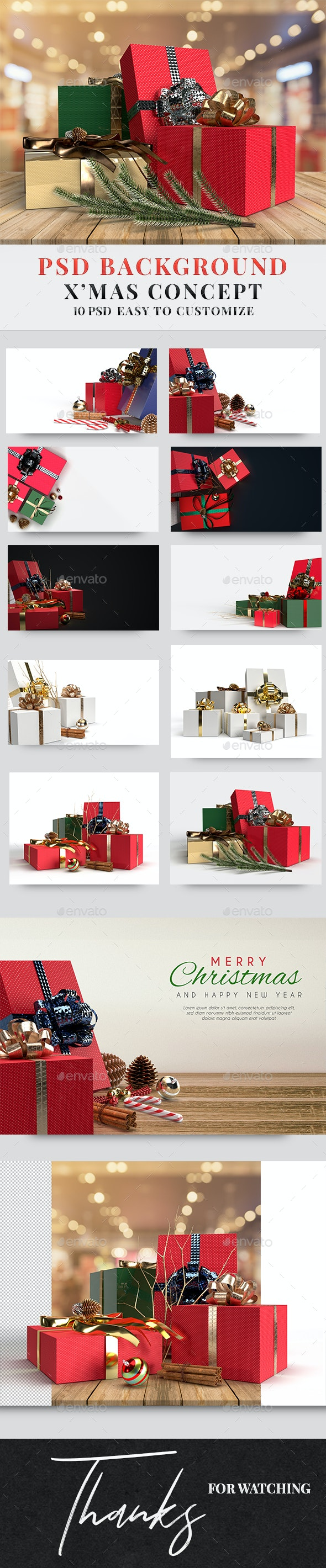 PSD Background Merry Christmas Concept - Backgrounds Graphics