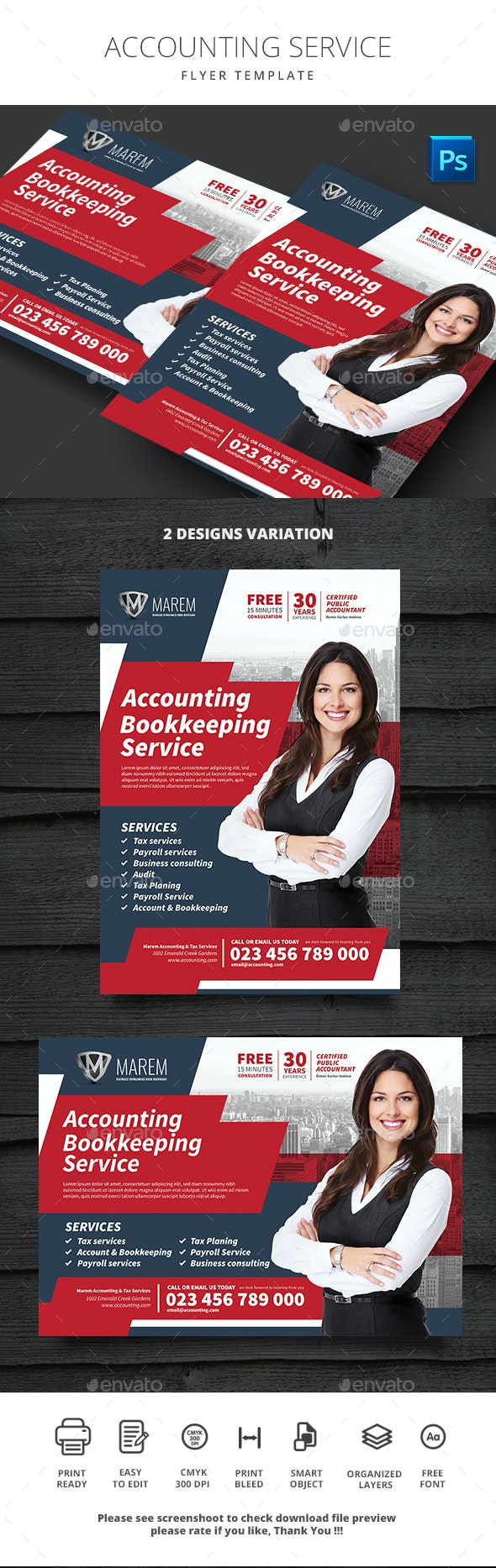 Accounting Service - Flyers Print Templates