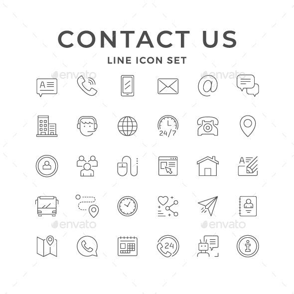 Set Line Icons of Contact Us - Man-made objects Objects