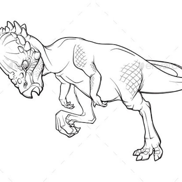 Pachycephalosaurus Head-butting Line Drawing