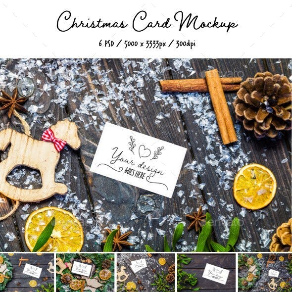 Christmas Card 6 PSD Mock-Up