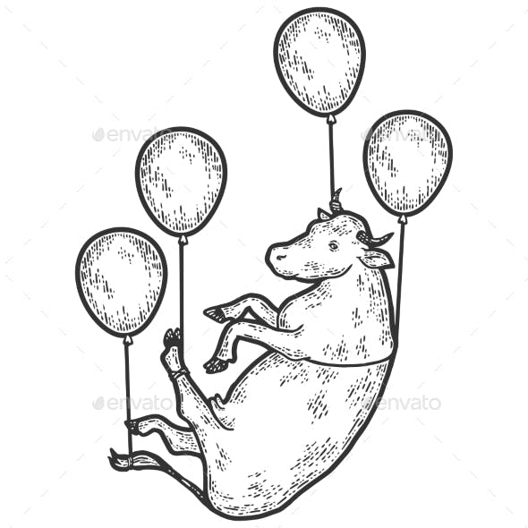Cow Flies on Balloons