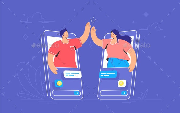 Video Call or Mobile Chat Conversation - People Characters