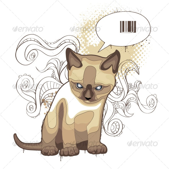 The cat on bizarre background - Animals Characters
