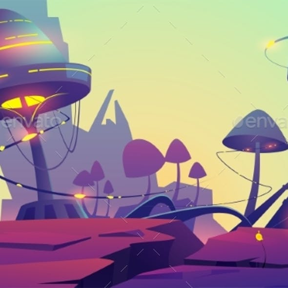 Fantasy Landscape with Magic Glowing Mushrooms