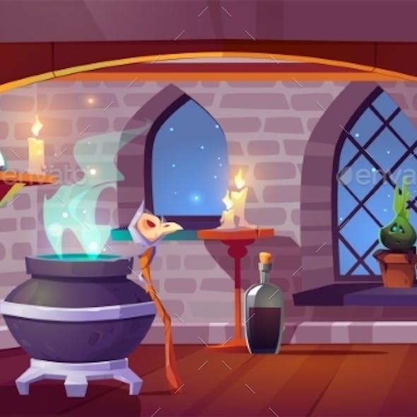 Magic Room Interior with Cartoon Witch Stuff.
