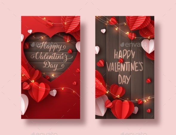 Happy Valentines Day Holiday Banners. - Seasons/Holidays Conceptual