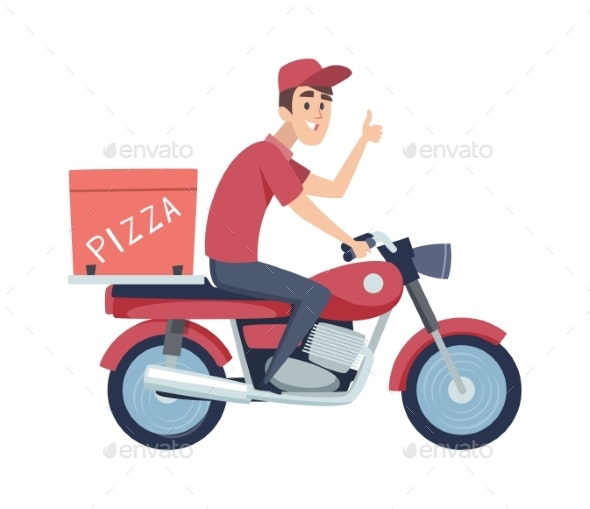 Delivery Boy on Motorcycle. Man Ride on Scooter - People Characters