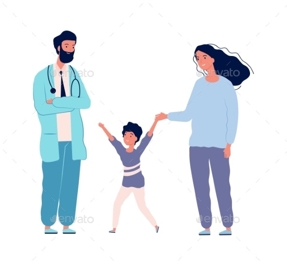 Family Doctor. Pediatrician Hospital Happy Boy - People Characters