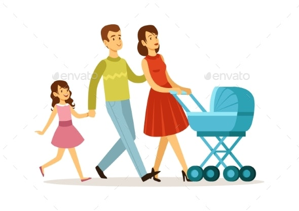 Family Walking. Mother Father Daughter, Baby - People Characters