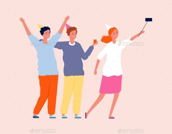 Friends Selfie. Party Time, Smiling People - People Characters