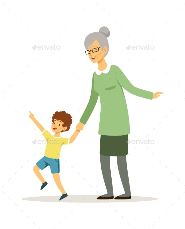 Grandmother and Grandson. Happy Family Walking - People Characters
