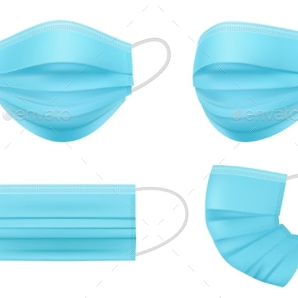Medical Mask Realistic. Hygiene People Face Filter