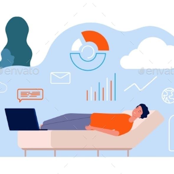 Tired Man. Freelancer, Remote Worker Sleep on Sofa