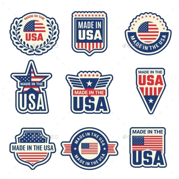 Made in Usa. National Authentic Labels or Badges