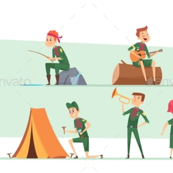 Scouts Characters. Summer Campers Boys and Girls