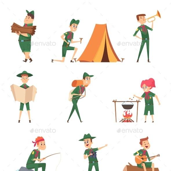 Rangers Kids. Little Scouts in Green Uniform