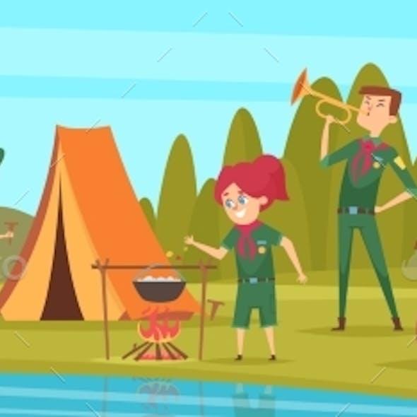 Outdoor Scouts. Teacher Studying Little Rangers