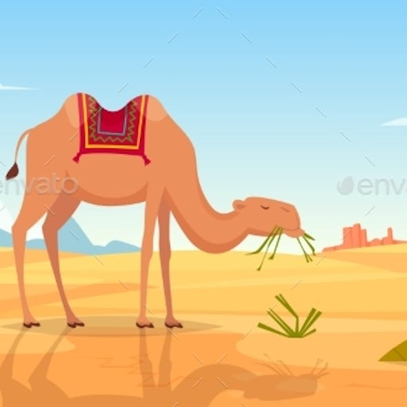 Desert Background. African Landscape with Group of