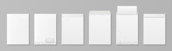 Vector 3d Realistic White Paper Blank Envelope - Miscellaneous Vectors