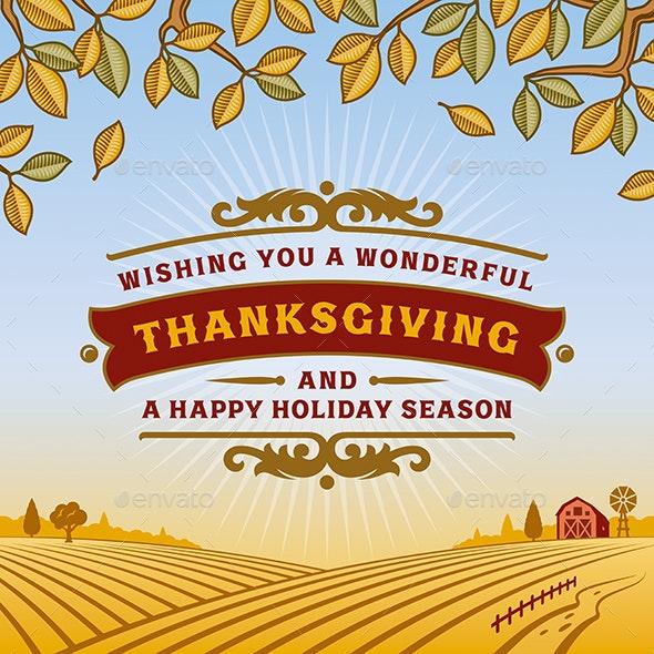 Retro Thanksgiving Greeting Card - Seasons/Holidays Conceptual