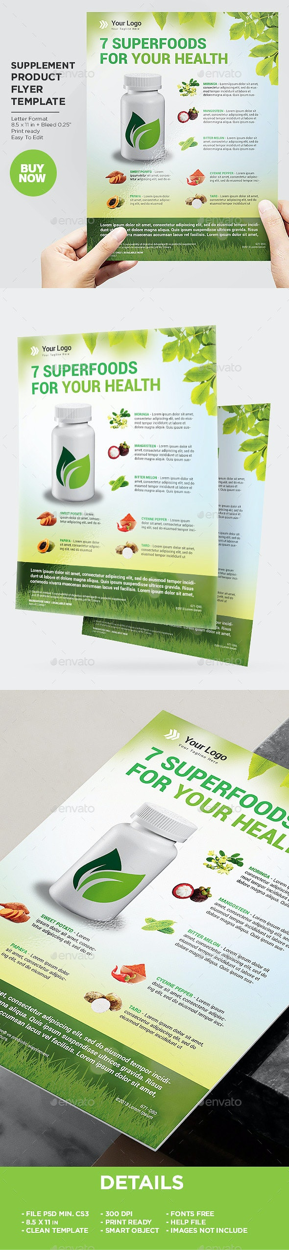 Product Flyer Organic Supplement - Commerce Flyers