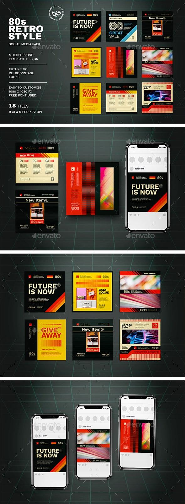 80s Retro Style Social Media Pack - Social Media Web Elements