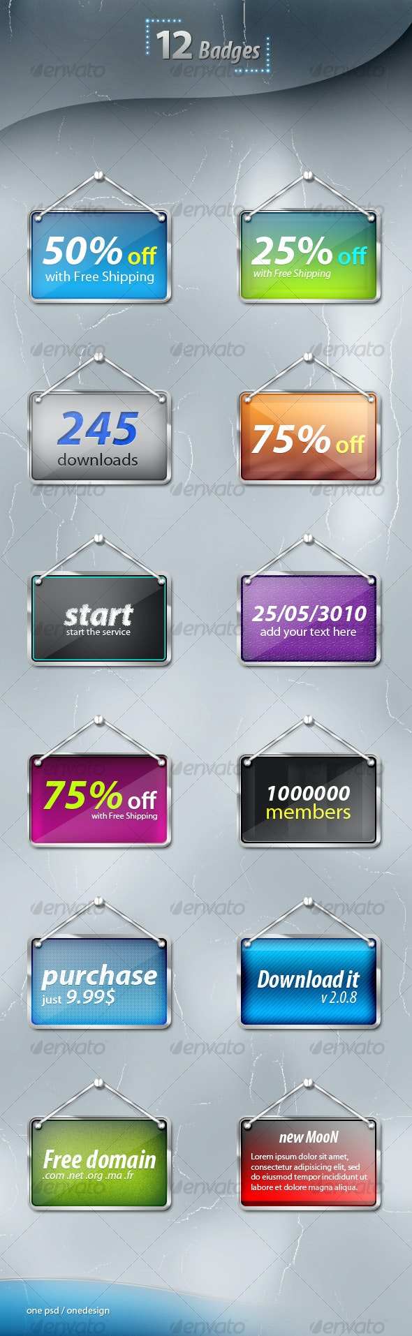 12 Web Badges - Web Elements