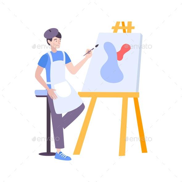 Painting Art Flat Composition - Miscellaneous Vectors
